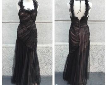 ALBERTA FERRETTI - Sale -15% Alberta Ferretti Vintage Long Dress - Tulle and Silk Long Dress - Prom Dress - Vintage Evening Dress Size XS S