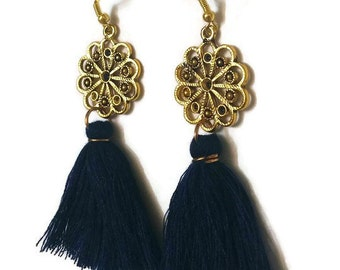 Blue Tassel Earrings, Long Tassel Earrings, Long Gold Earrings, Gold Tassel Earrings, Long Earrings, Tassel Earrings, Boho Earrings, Earring