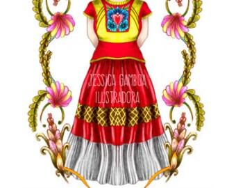 Digital Print, Frida lista para imprimir. Imagen imprimible, Ilustración