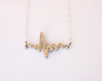 Heartbeat EKG Silver or Gold Necklace, Heart Beat Necklace, EKG Necklace, Nurse Necklace, Doctor Jewelry, Silver EKG Pendant, Gold Pendant