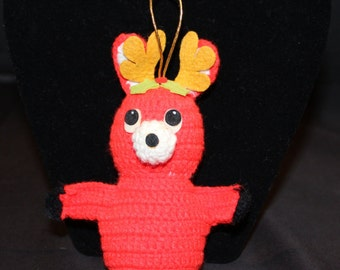 Vintage Hand Crochet and Felt Reindeer Ornament, Rudolph, Christmas Tree, Holiday Décor, Gift (X017A)
