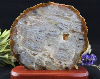 Agate Crystal Slice in Stand - S7