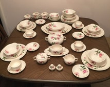 Vintage Magnolia Dinnerware Set by Iva-Lure by Crooksville / Service for 8 (59 Pieces)