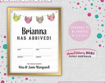 """Hospital Door Sign """"Diapers, Pink"""" (Printable File Only) New Baby Birth Stats Weight Length Date Time Maternity Room Announcement Sign Girl"""