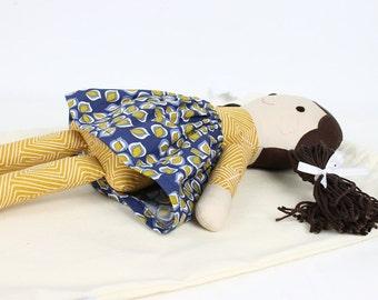Fabric doll, rag doll, doll for gift, handmade doll, navy blue and mustard doll, vinatge doll