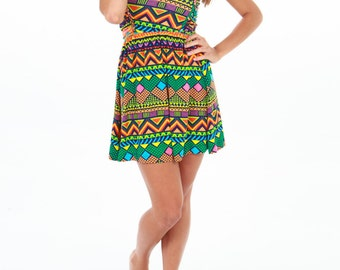 Amazonia Skater Dress/ Tribal Dress /Summer Dress /Festival Clothing/
