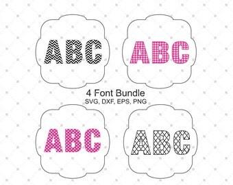 Digital Font Bundle SVG files, Chevron Font SVG, Polka Dot Font svg, Quatrefoil Font svg, Font Files, Silhouette files, svg files for cricut