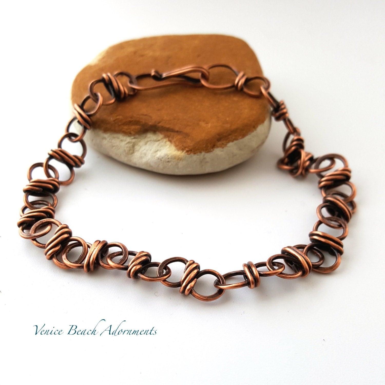 men 39 s solid copper chain bracelet by venicebeachadornment. Black Bedroom Furniture Sets. Home Design Ideas