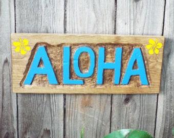 Aloha Sign - Handmade Alhoa Sign - Handcarved Aloha sign -- Blue Letters