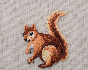 Squirrel - Brown - Facing Left - Embroidered Patch - Iron on Applique - 28414-A
