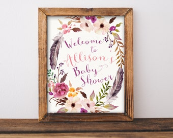 Baby Shower Welcome Sign Printable, Boho Chic Feathers Floral Welcome to the Shower, Gender Neutral, Watercolor