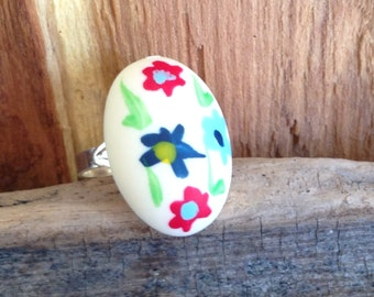 white hand painted flower statement ring