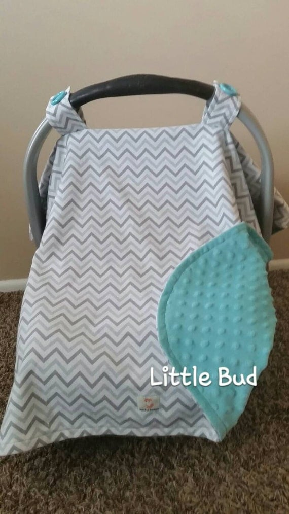 items similar to gray chevron with turquoise bubble dot minky car seat canopy gender neutral. Black Bedroom Furniture Sets. Home Design Ideas