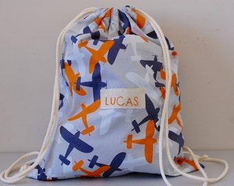 Personalised Waterproof Drawstring Bag/ Library Bag/ Laundry bag /Wet Bag/ Childcare Bag/ Swim Bag/ Beach Bag/ Nappy Bag - Planes
