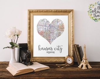 Heart Map print, printable map wall art decor, INSTANT DOWNLOAD - Kansas City, Missouri
