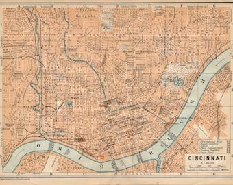 1904 Cincinnati Ohio Antique Map