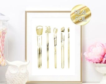 Makeup Brushes Gold Foil Print Art Typography Design Sign Picture Vanity Makeup Room Bathroom 8.5x11 Multiple Sizes Eyeshadow Lipstick Girly