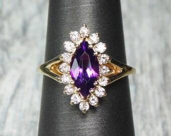 Vintage 14k Amethyst Diamond Ring Genuine Amethyst Ring 14k Gold Marquise Amethyst Diamond Ring Halo Purple Stone February Birthstone