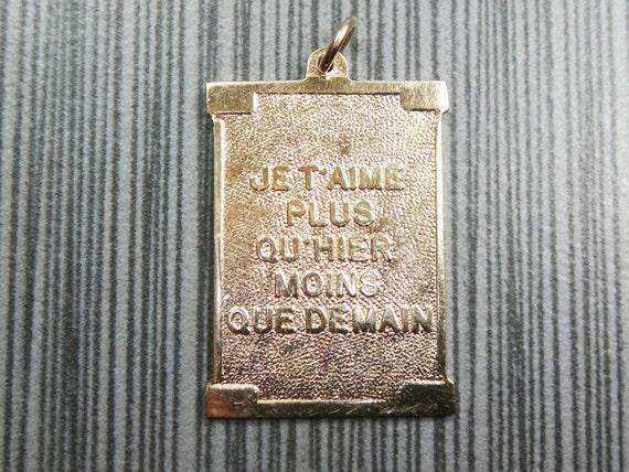 Vintage 14k Gold Charm Je T Aime Plus Qu Hier Moins Que