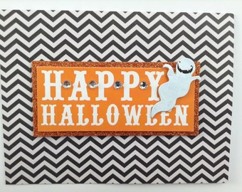 Happy Halloween Card - Black and Orange Halloween Card - Glitter Halloween Card - Ghost Card - Halloween Ghost Card