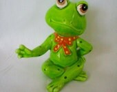 Vintage Lefton Frog Figurine, Cool Yoga Frog
