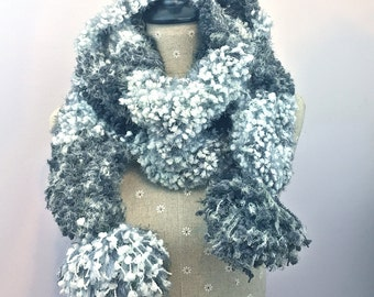 Pom Pom Scarf Fuzzy Grey White Scarf for Women Winter Accessories Handmade Crochet Scarves Knit Warm Soft Scarf Long Winter Gifts For Her