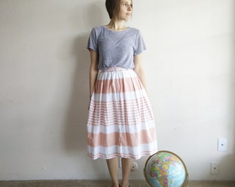 Vintage Pink Striped Midi Skirt/X-Small