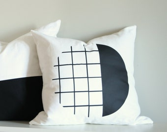 Black Scandi Pillow Cover, Geometric Cushion, Black & White, Throw Pillow, Accent Pillow, Monochrome Decor, Scandinavian Design Black Pillow