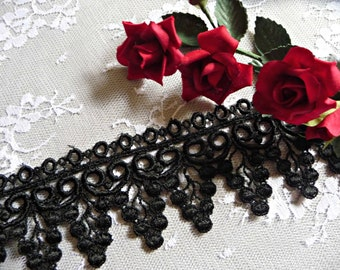 Black Lace Trim 2 Inch Wide Scallop Pattern for Gowns Costumes Home Decor Altered Art Craft Supply VL09B