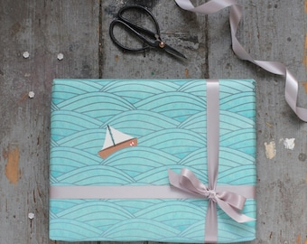 Ocean Wrapping Paper|Sailing Boat Gift Wrap|Sea|Japanese style ocean waves|Birthday wrapping paper|Gift Wrap for Sailors