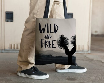 Wild and Free, Inspirational Tote Bag, Grocery Tote Bag, Book Tote Bag