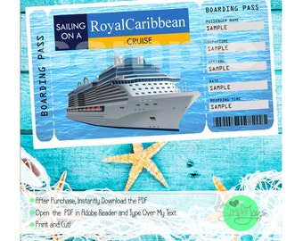 Royal Caribbean Cruise Printable Ticket Boarding Pass Customizable Template  Digital Pdf File You