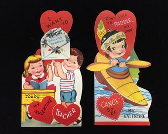 2 Vintage Valentines: Boy & Girl to Teacher (Want to Report) and Native American Girl (Don't Like to Paddle my Own Canoe)