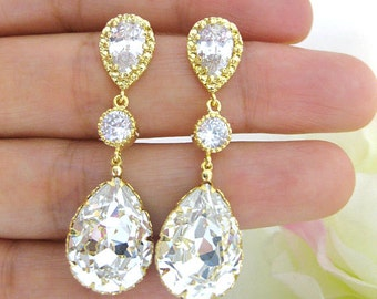 Bridal Crystal Earrings Swarovski Clear Crystal Teardrop Earrings Wedding Jewelry Bridesmaid Gift Bridal Long Earrings Cubic Zirconia (E063)