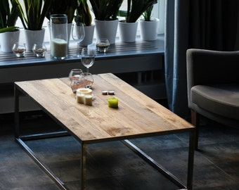 Coffee Table, Industrial Table, Wooden Table on Metal Frame Legs,  Rustic And Industrial Reclaimed Barn Wood Furniture