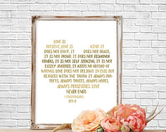 Quote Prints, Bible Verse Quote,  Love is Patient, Art Print, Wall Art,  Printable, Bible Verse Sign, Wedding Decor, Wedding Decor, Gold