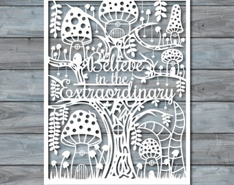 "DIY Papercut Template PDF Printable ""Believe in the extraordinary"" Papercut by Zavyanne"