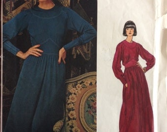 Vogue 1144 - 1970s Jean Muir Couture Dress with Novelty Shaped Midriff in Below Knee or Ankle Length - Size 10 Bust 32.5