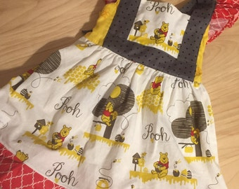 Girl Lace Dress, Girl Handmade Dress, girl dress, Girl birthday Dress, girl disney dress, disney vacation Dress, winnie the pooh Dress