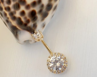 CZ Round Gold Belly Button Ring. 6&7