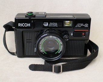 Ricoh AF-2 Camera, 35 mm Film, Vintage Ricoh Camera with Straps and Case, Tested, made in Japan
