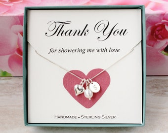 Beautiful Bridal Shower Hostess Gift For Baby Shower Hostess Thank You Gift For  Friend Sterling Silver Inital