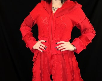 SPRING SALE Red Riding Hood, Wool Upcycled Sweater Coat, Size Medium pixie pocke