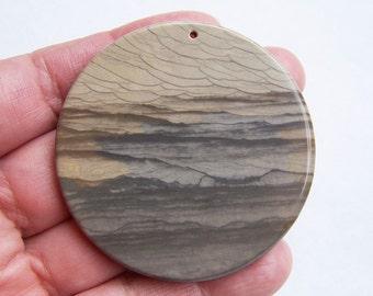 Rare Landscape Ocean Jasper pendant bead 54x4mm