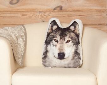 Wolf Pillow, forest animals, woodland nursery decor, woodland creatures, forest nursery, rustic decorative pillow, animal pillow