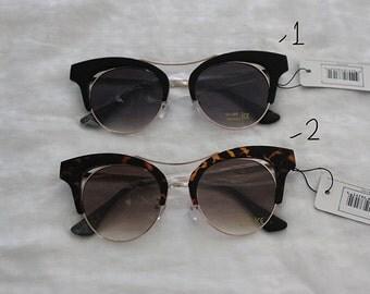 Women's round half frame flat lens cat eye sunglasses