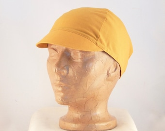 No Logo Yellow Cycling Cap. Summer cycling hat. Bike Accessories. Recycled Fabric.