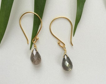Labradorite and Gold Earrings, Labradorite Teardrops on Gold Vermeil, Gemstone Earrings, Gifts for her