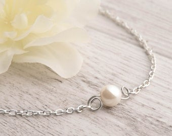 round pearl bracelet set of 5 white bridesmaids as affordable pearl set for simple wedding set - one pearl bracelet - 6 floating pearl set