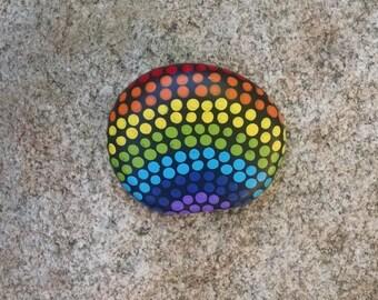 Dot painted rainbow stone